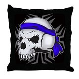 Street Wise Skull(blue)(black) Throw Pillow