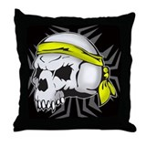 Street Wise Skull(yellow) blk Throw Pillow