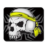 Street Wise Skull(yellow) blk Mousepad