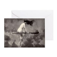 Vintage Nude Witch Greeting Card