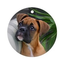 Boxer Puppy Ornament (Round)