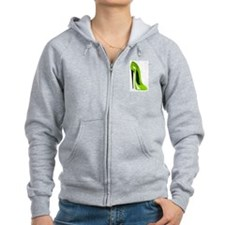Lime green stiletto shoe Zip Hoodie