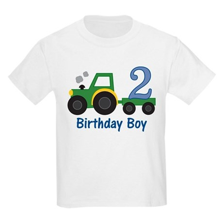 2nd Birthday Tractor Kids Light T-Shirt