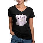 Veg-a-holic Women's V-Neck Dark T-Shirt