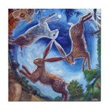 Three Hares Tile Coaster