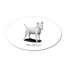 White Bull Terrier 38.5 x 24.5 Oval Wall Peel