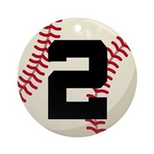 Baseball Player Number 2 Team Ornament (Round)