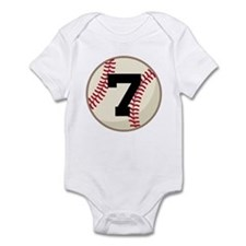 Baseball Player Number 7 Team Infant Bodysuit