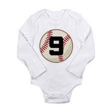 Baseball Player Number 9 Team Long Sleeve Infant B