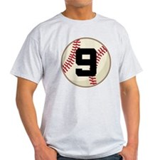 Baseball Player Number 9 Team T-Shirt