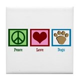 Peace Love Dogs Tile Coaster
