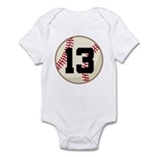 Baseball Player Number 13 Team Infant Bodysuit