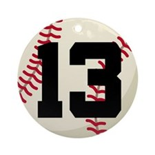 Baseball Player Number 13 Team Ornament (Round)