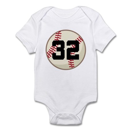 Baseball Player Number 32 Team Infant Bodysuit
