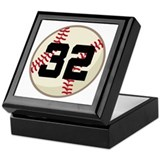 Baseball Player Number 32 Team Keepsake Box
