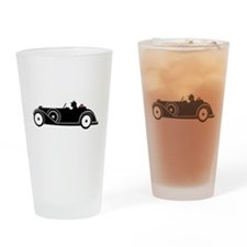 Racing Car and Roses Pint Glass