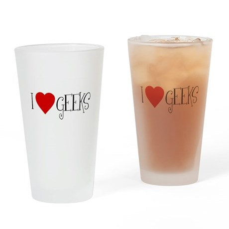I Love [heart] Geeks Pint Glass