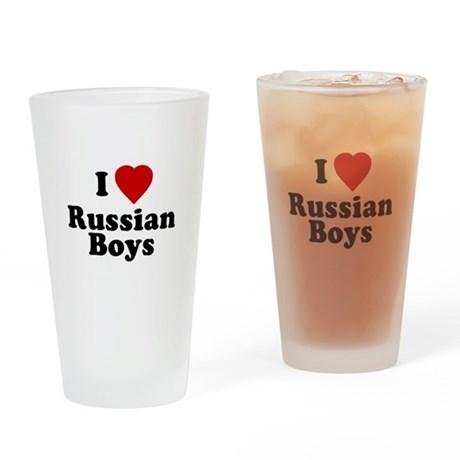 I Love Russian Boys Pint Glass