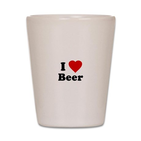 I Love [Heart] Beer Shot Glass