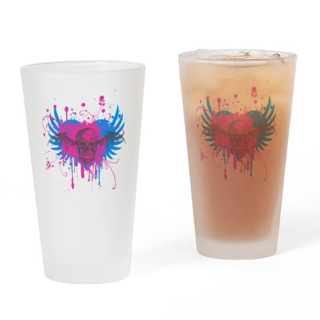 Splatter Skull Pint Glass