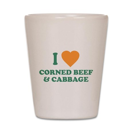 I Love Corned Beef & Cabbage Shot Glass