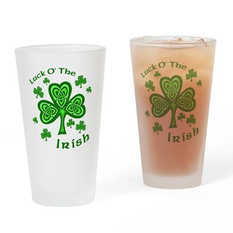 Irish Luck Shamrocks Pint Glass