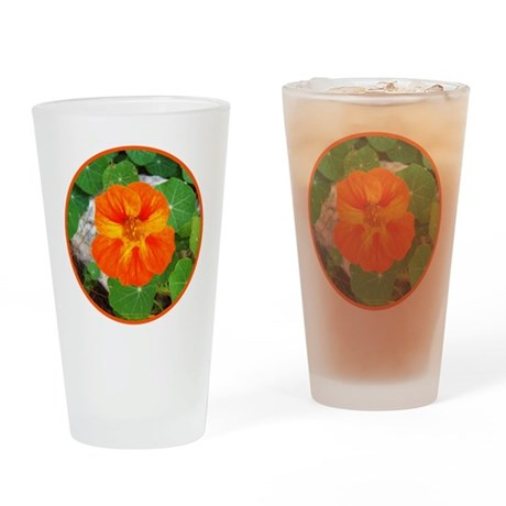 Orange Nasturtium Drinking Glass