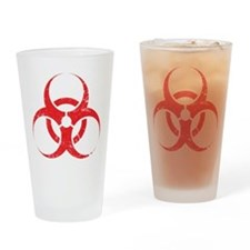 'Vintage' Red Biohazard Pint Glass