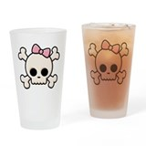 Cute Skull Girl Pint Glass