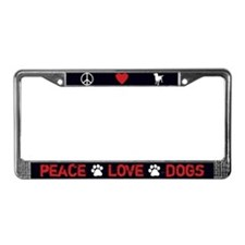 Peace Love Dogs License Plate Frame (Black)