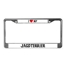 I Love My Jagdterrier License Plate Frame