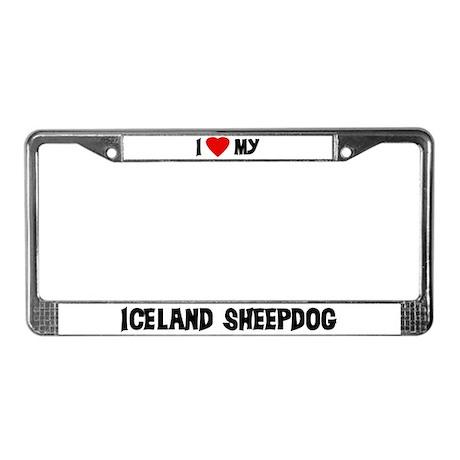 I Love My Iceland Sheepdog License Plate Frame