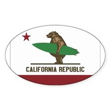 California Surfing Bear Flag Decal