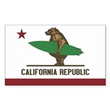California Surfing Bear Flag  Aufkleber