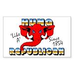 """Hung Like A Republican"" Sticker (Rectan"