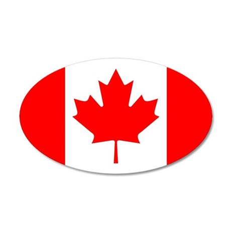 Canadian Flag 38.5 x 24.5 Oval Wall Peel