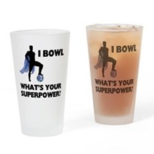 Bowling Superhero Drinking Glass
