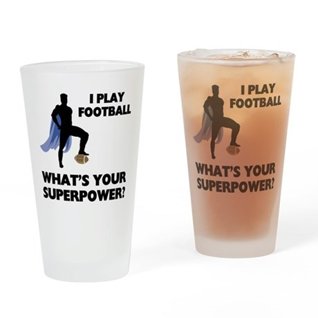 Football Superhero Pint Glass