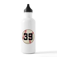 Baseball Player Number 39 Team Water Bottle