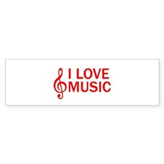 I LOVE MUSIC Sticker (Bumper)