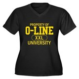 O-LINE U Women's Plus Size V-Neck Dark T-Shirt