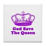 God Save the Queen (purple) Tile Coaster