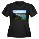 Shasta Lake Women's Plus Size V-Neck Dark T-Shirt
