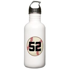 Baseball Player Number 52 Team Water Bottle