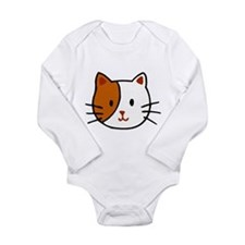 Calico Cat Cartoon Long Sleeve Infant Bodysuit