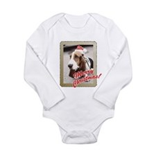 Basset Hound Christmas Long Sleeve Infant Bodysuit
