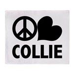 Peace Love Collie Throw Blanket