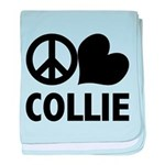 Peace Love Collie baby blanket