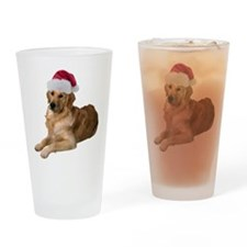 Santa Golden Retriever Pint Glass