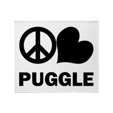Peace Love Puggle Throw Blanket